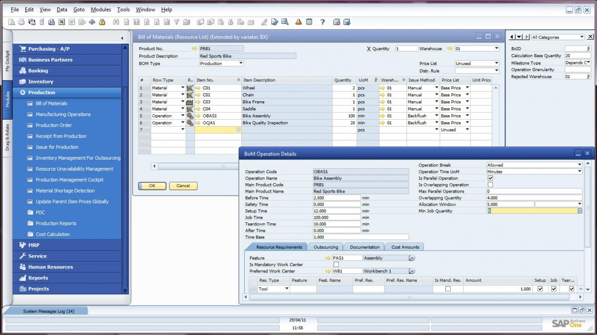 SAP Business One Screenshot
