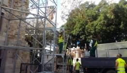 ΒΑΚΟΥΦ Κω: Τοποθέτηση ικριώματος στο Τέμενος «Γαζί Χασάν Πασά»